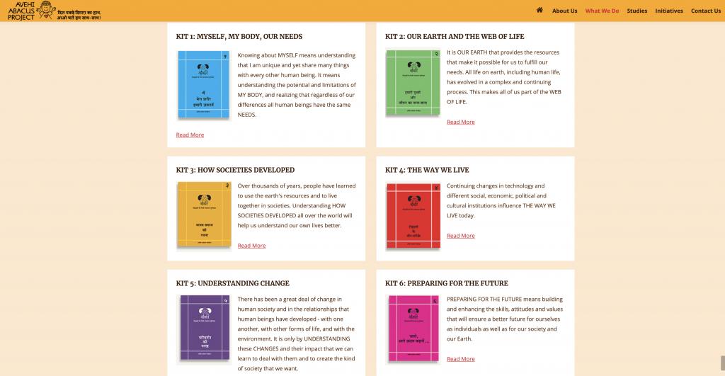 Kits de enseñanza sobre ciencias, ciencias sociales y valores repartidos en el proyecto Avehi Abacus.